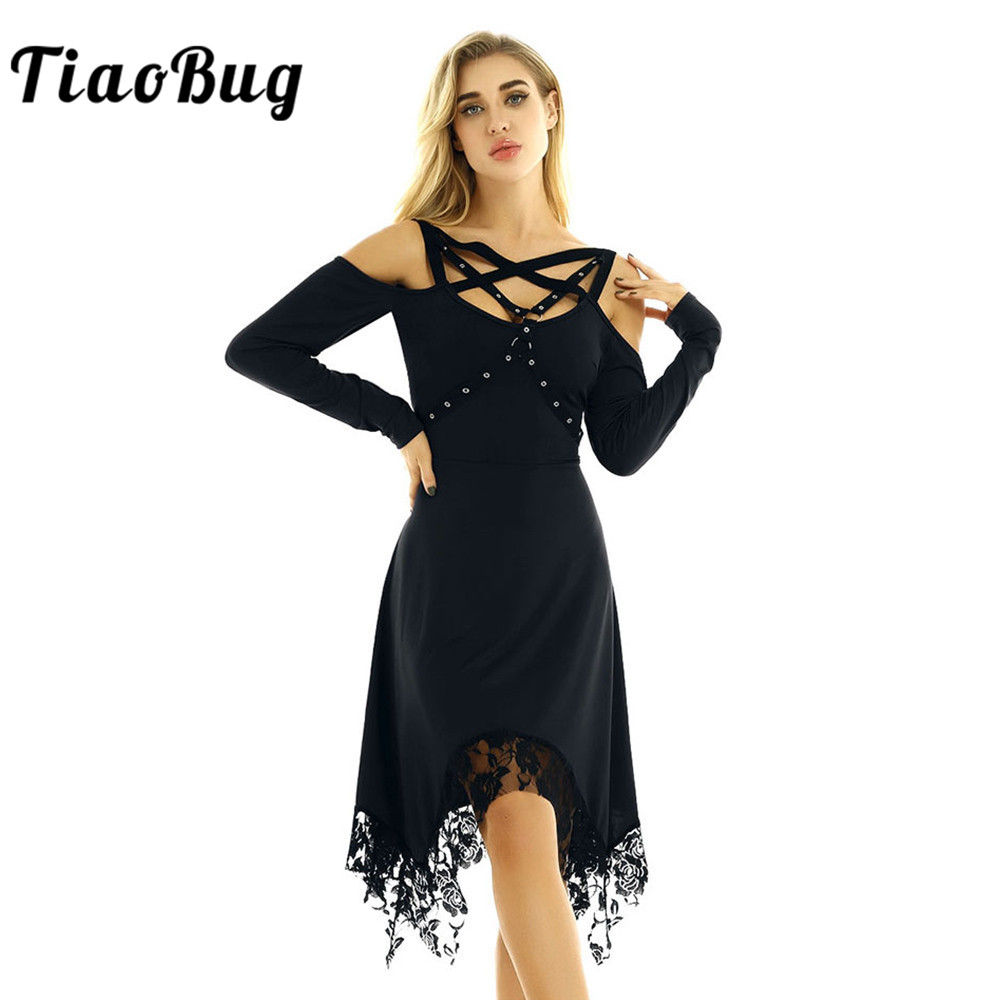 <font><b>TiaoBug</b></font> Women Vintage Gothic Off Shoulder Long Sleeves Irregular Lace Hem Solid Color Stage Performance Casual Party Midi <font><b>Dress</b></font> image