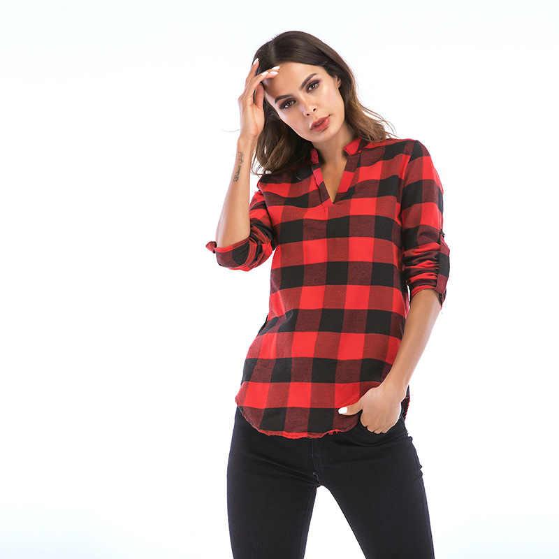 大サイズのチェック柄ブラウス女性カジュアルセクシーなシャツ 2019 秋のファッションプラスサイズスリム女性 ShirtBlusas トップス服 6XL ホット販売