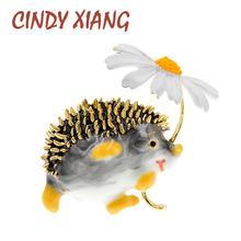 CINDY XIANG Cute Hedgehog Brooch Fashion Daisy Brooches For Women Animal Jewelry Funny Winter Design High Quality New 2020 cheap CN(Origin) zinc Alloy BR120127 TRENDY Metal