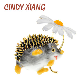 CINDY XIANG Cute Hedgehog Brooch Fashion Daisy Brooches For Women Animal Jewelry Funny Winter Design High Quality New 2020 cindy xiang colorful cubic zirconia daisy brooches for women sunflower brooch pin copper jewelry zircon corsage high quality