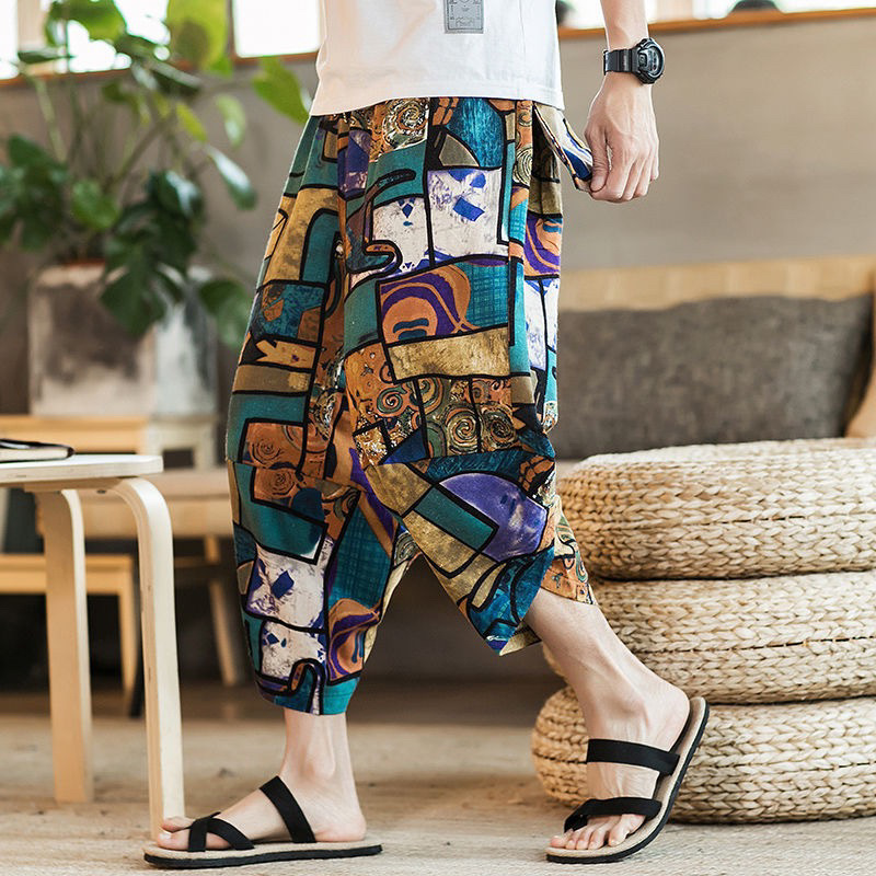 Fashion Men Beach Wide Legs Pants Indian Traditional Clothing Sari Thailand Trousers Pakistani Print Bloomers Hippie Streetwear