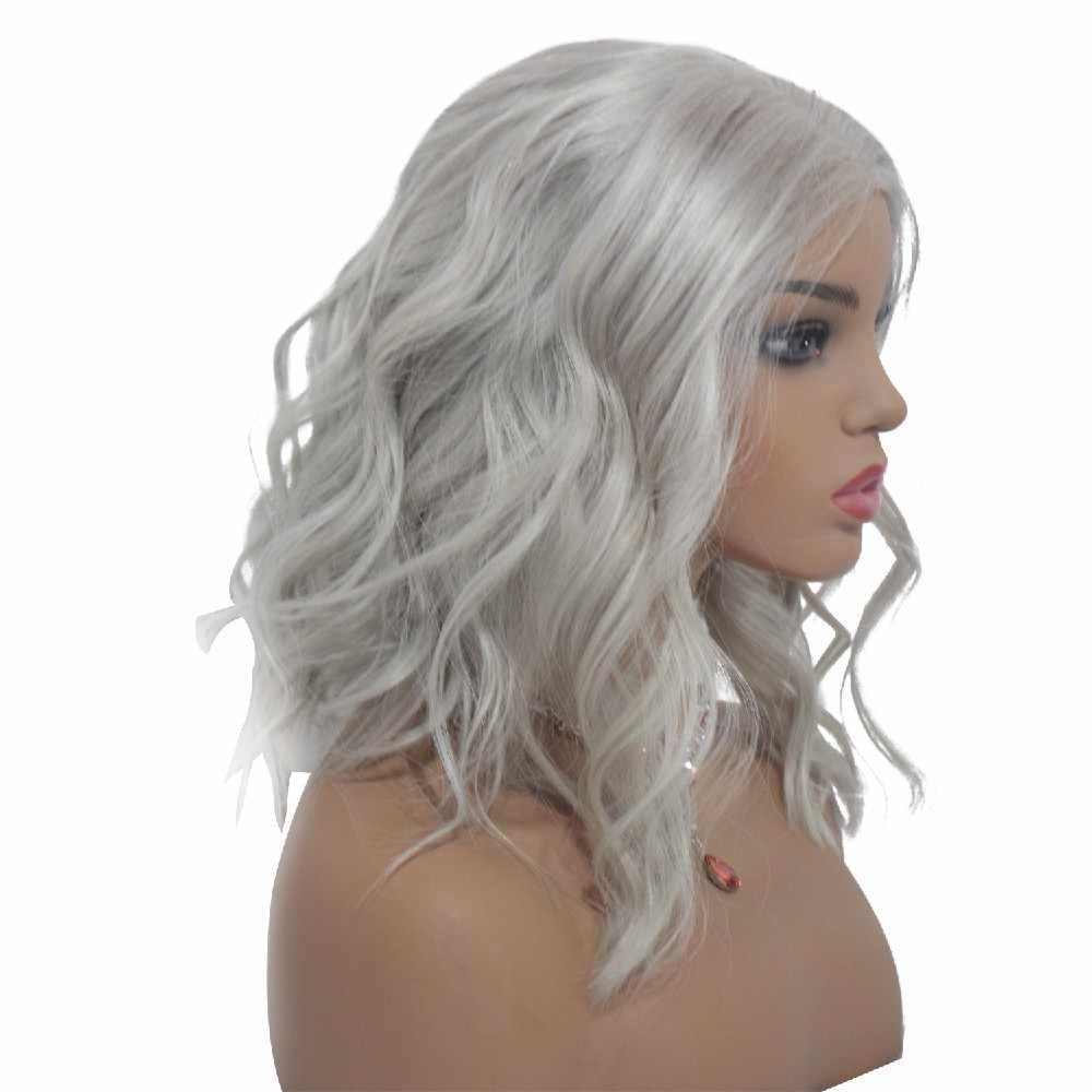 Besfor 1B Grey Boday Bob Pruik Ombre 13X4 Lace Front Menselijk Haar Pruiken Maagdelijke Braziliaanse Haar Krullend Met baby Haar Voor Zwarte Vrouwen