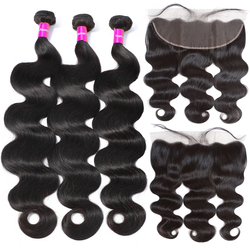 Body Wave Bundles With Frontal Pre Plucked Lace Frontal Closure With 3/ 4 Bundles Tuneful 100% Brazilian Remy Human Hair Bundles