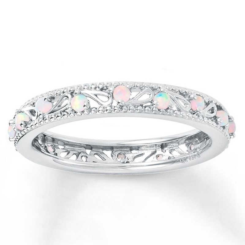 Dainty Round Fire White Opal Wedding Finger Rings for Women Silver Hollow Promise Engagement Ring Fashion Opals Jewelry 2019