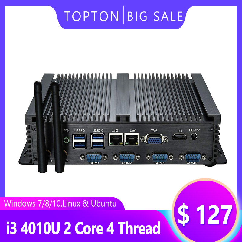 Windows 10 Industrial Computer Intel I5 4200U Celeron 2955U Fanless Mini PC,4xUSB3.0, 6xCOM RS232, HDMI, WiFi,Full Metal Case PC
