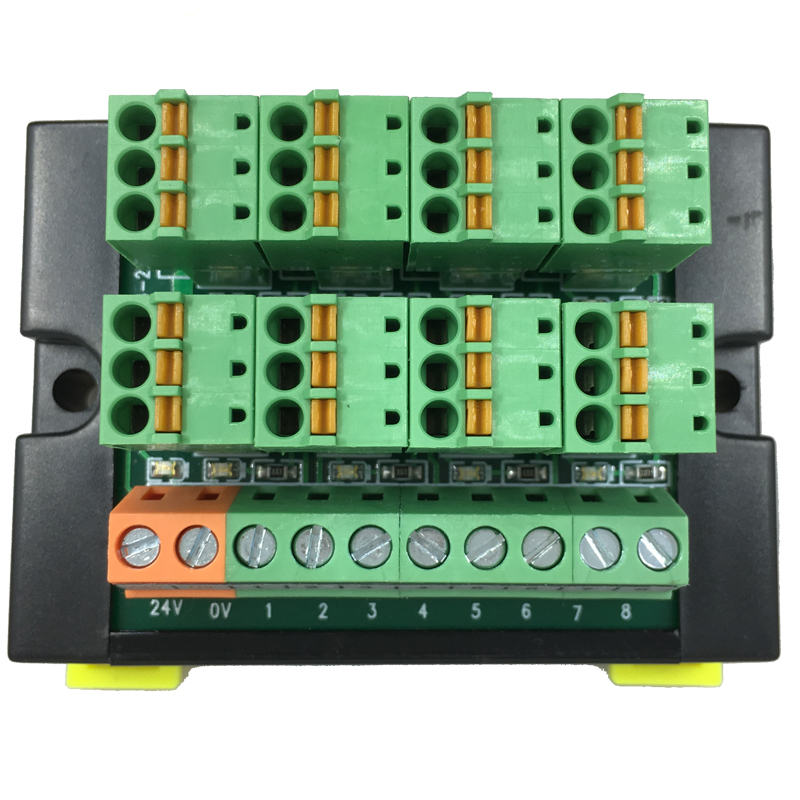 PLC Terminal Block Module Sensor 3-wire 8-bit Input And Output DIN Rail Spring-type Wiring LED