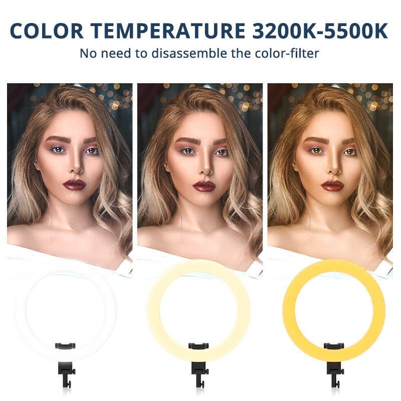 Travor Cincin Lampu 20 Inch Cincin Lampu Fotografi Ringlight Dimmble 60W dengan Tripod untuk YouTube Makeup Fotografi LED cahaya