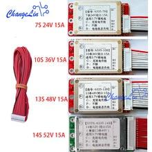 7s 24v 10s 36v 13s 48v 14s 52v íon de lítio lipo placa de proteção de bateria, porta comum 15a ebike bms pcm pacotes de motor