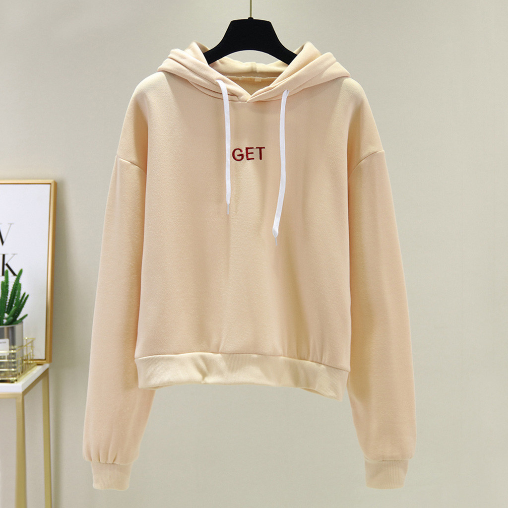 2020 Autumn and winter explosions fashion casual solid color hooded women's long-sleeved plus velvet hood sportswear kpop 40*