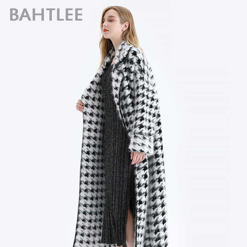 BAHTLEE Women Angora Long Coat Houndstooth Pattern Sweater Winter Wool Knitted Cardigans Jumper Turn Down Collar Long Sleeves