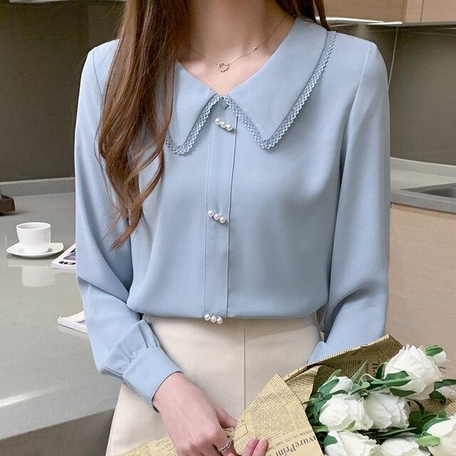 Long Sleeve Chiffon Shirt Doll Collar French Top Korean Fashion New 2020 Loose Professional Shirt Women Blouses 4