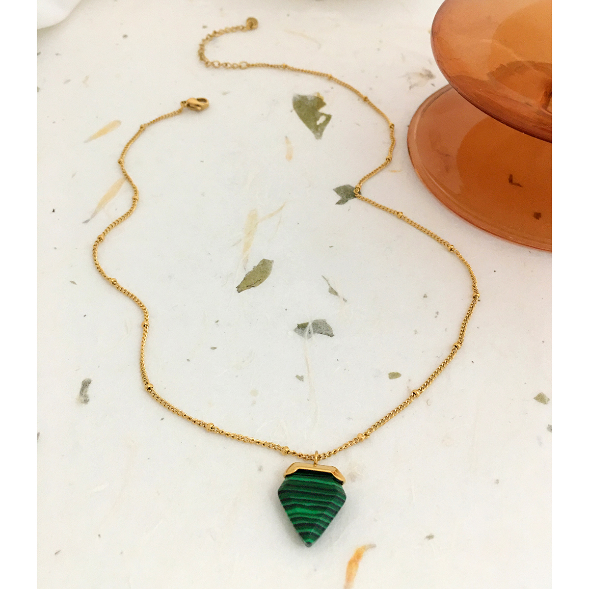 Monlansher Vintage Geometric Malachite Pendant Necklace Gold Color Thin Chain Chokers Minimalist Trendy Chain Necklaces Jewelry