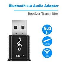 Trasmettitore ricevitore Audio Bluetooth 5.0 2 In 1 AUX RCA USB 3.5mm Mini Jack Bluetooth Stereo per TV PC Car Kit adattatore Wireless