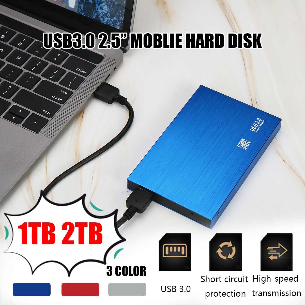 2.5 External Hard Drive Storage USB3.0 HDD Anti-vibration And Anti-fall Mobile Hard Disk For Mac TV Box 1TB 2TB