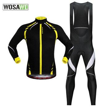 цена на WOSAWE Autumn Winter Cycling Motorcycle Jacket Set Windproof Fleece Long Sleeve Jersey Mtb Bibs Bicycle Mountain Bike Clothing