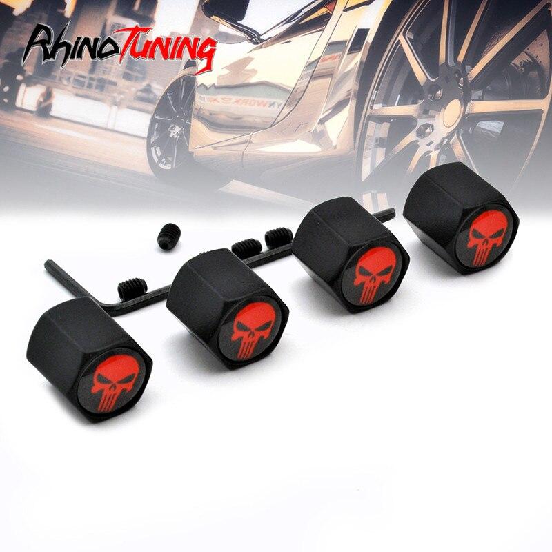 4pcs/lot Anti-theft Style Car Wheel Tyre Valve Cap Black Skull Logo Dustproof Auto Air Stems Cover Cap Accessories