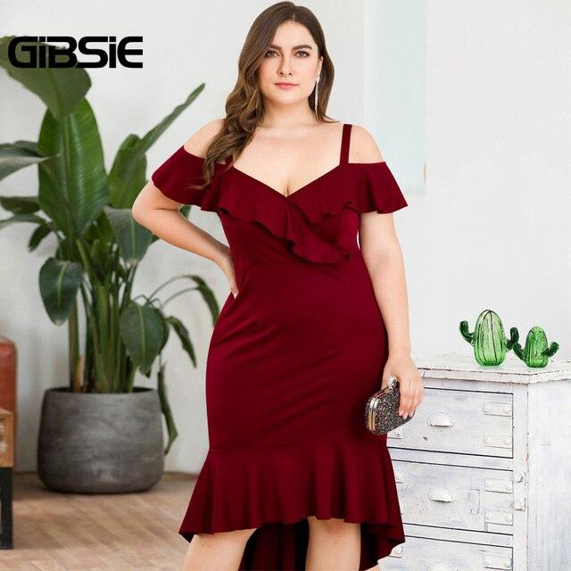 GIBSIE Plus Size Wine red Elegant V-neck Strap Long Evening Party Dress Summer Women Ruffle High Waist Bodycon Mermaid Dresses 4