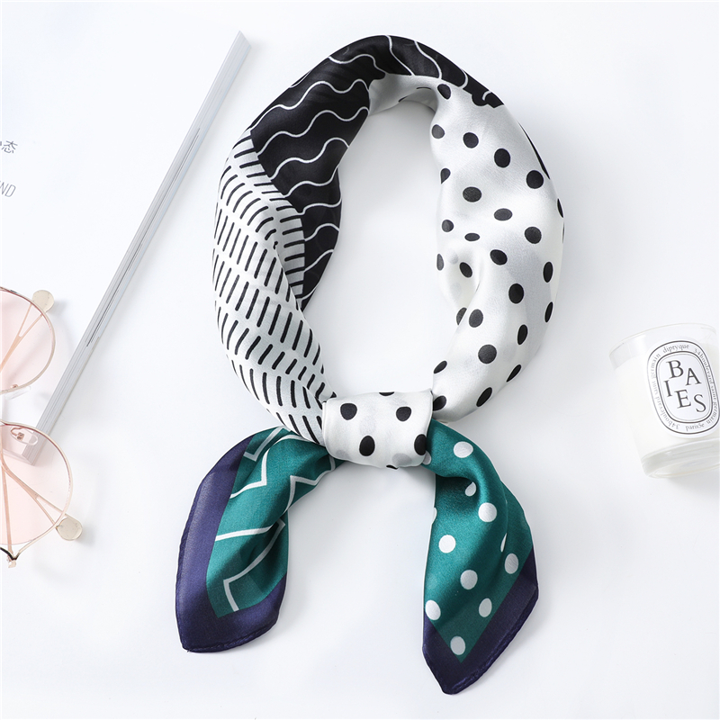 Dot Striped Pattern Silk Scarf Women 2020 Spring New Fashion Geometry Scarves Brand Designer Shawls Lady Neck Scarfs Bandana