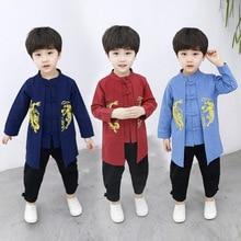 Детская одежда в китайском стиле; традиционная одежда в китайском стиле для мальчиков; комплект из хлопка и льна; сезон весна-осень; китайский стиль в стиле ретро; S