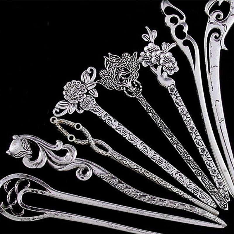 1PCS Vintage Ancient Hairpin Natural Silver Hair Stick Hairpins Headwear For Women Japanese Hairpin Wood Chinese Hair Stick