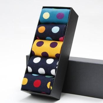 Fashion Men's Casual Happy Socks High Quality Business Dress Cotton Breathable Deodorant Polka Dot Male - discount item  41% OFF Men's Socks