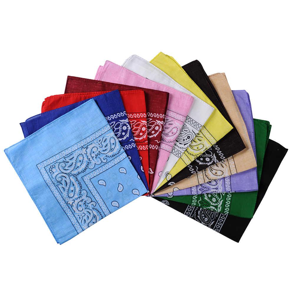 2019 nouvelle mode Hip Hop 100% coton Bandana carré écharpe 55cm * 55cm noir rouge Paisley bandeau imprimé pour femmes/hommes/garçons/filles