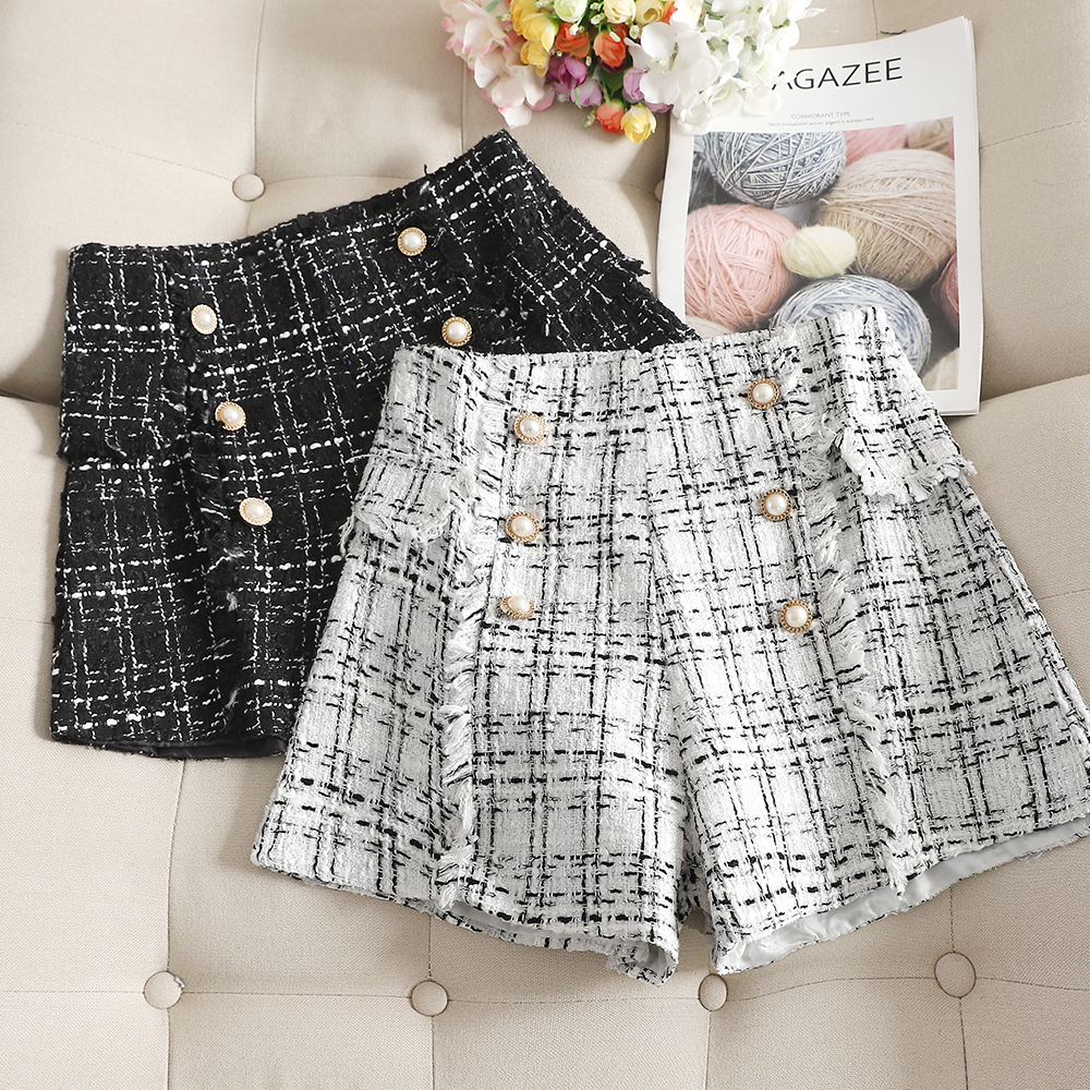 2019 Autumn Winter New Plaid Women Shorts Double Breast Wide Leg Plaid Loose Shorts Office Lady Female Sexy Shorts Top Quality