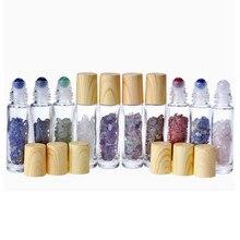 Natural Gemstone Jade Roller Bottle Plastic Wood Grain Lid Refillable Essential Oil Bottle 10ml 10pcs P230
