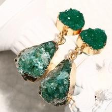 Korean Crystal Resin Druzy Dangle Earrings For Women Natural Stone Water Drop Earring 2019 New Female Jewelry Pink Yellow Green