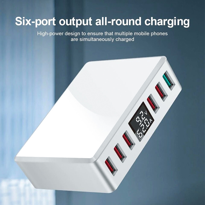 QC 3 0 6 Ports USB Charger Smart Charging Multi Port Travel Charger LCD Digital Display Station Multi Port USB Charging Plug US in Mobile Phone Chargers from Cellphones Telecommunications