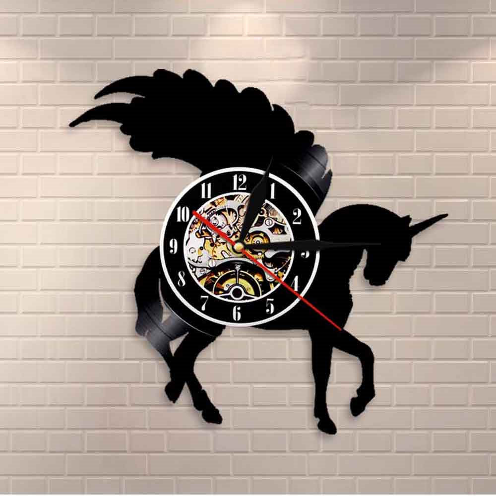 Glitter Unicorn Wall Art Unicorn Silhouette Wall Clock Horse With Wings Vinyl Record Clock Modern Wall Art Unicorn Party Deco