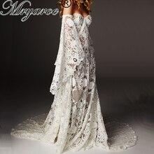 Mryarce ייחודי חתונת שמלת 2019 יוקרה סרוגה תחרה Beau שמלת Boho שיק היפי שמלת שרוולי פעמון