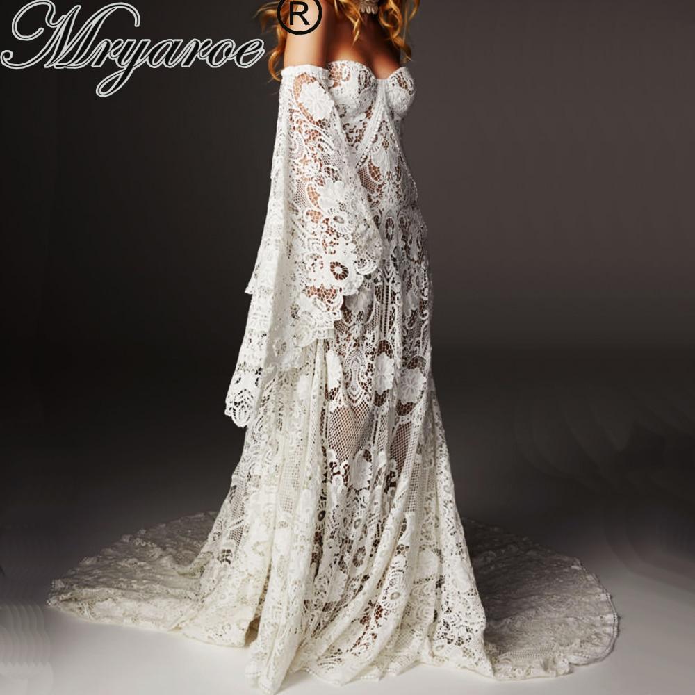 Mryarce Unique Wedding Dress 10 Luxury Crochet Lace Beau Gown Boho Chic  Hippie Bridal Gown Bell Sleeves