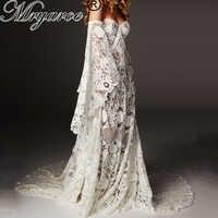 Mryarce Unique Wedding Dress 2019 Luxury Crochet Lace Beau Gown Boho Chic Hippie Bridal Gown Bell Sleeves