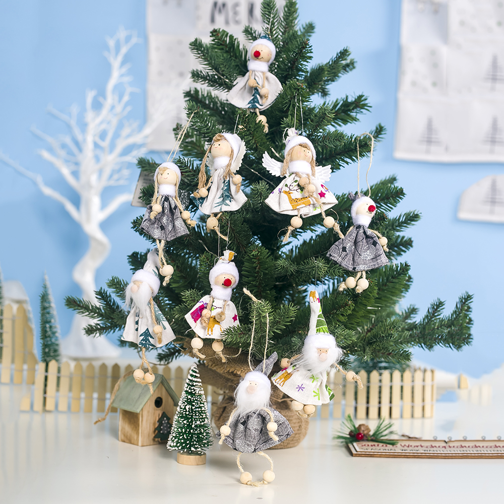 Kawaii Christmas Angel Doll Pendants Smile Girl Ornament For Christmas Tree Dolls Home Xmas Gift Noel Kerst Navidad Decoraciones in Pendant Drop Ornaments from Home Garden