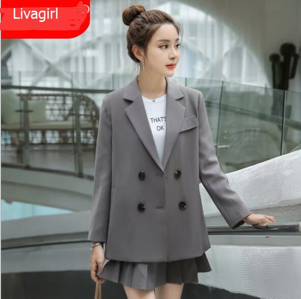 2020 Spring Double Buttons Elegant Jacket Women Fashion Formal Long Sleeve Blazer Office Ladies Workwear Student Loose Outerwear