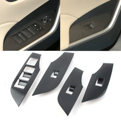 4Pcs/Set Car Interior Door Window Lift Switch Panel Protector Cover Trims For Toyota 2019 2020 RAV 4 RAV4 Carbon Fiber Styling