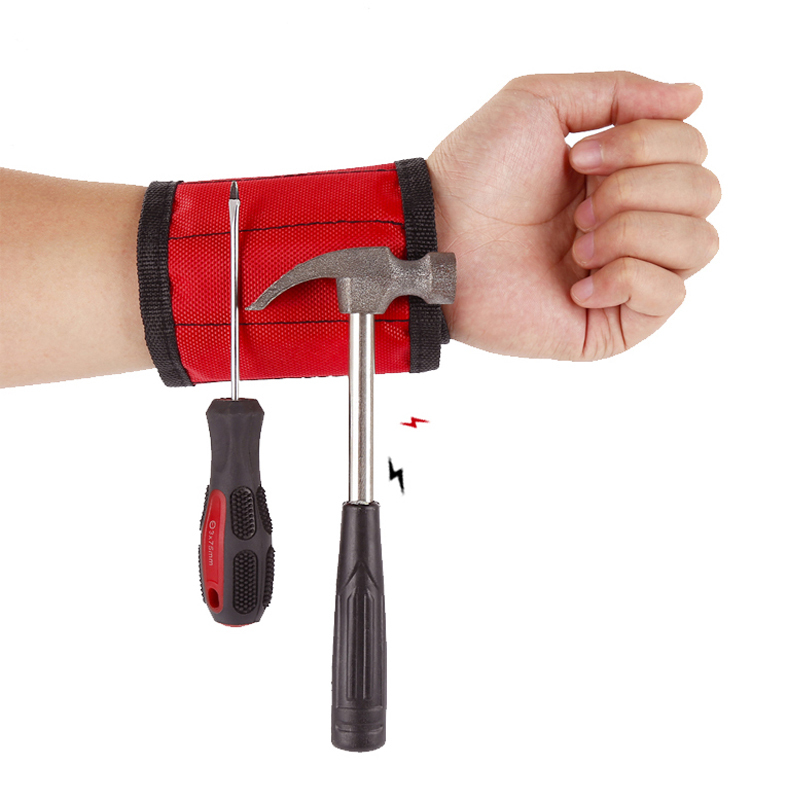 Magnetic Polyester Bracelet Portable Tool Bag Electrician Wristband Screw Repair Tool  Bag With 3 Magnet Electrician Wrist Tool