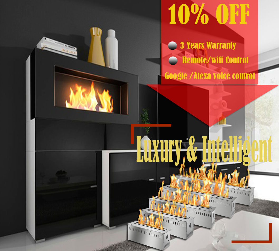 Inno Living Fire 72 Inch Automatic Intelligent Smart Real Flame Bioethanol Fuel Burning Fireplace