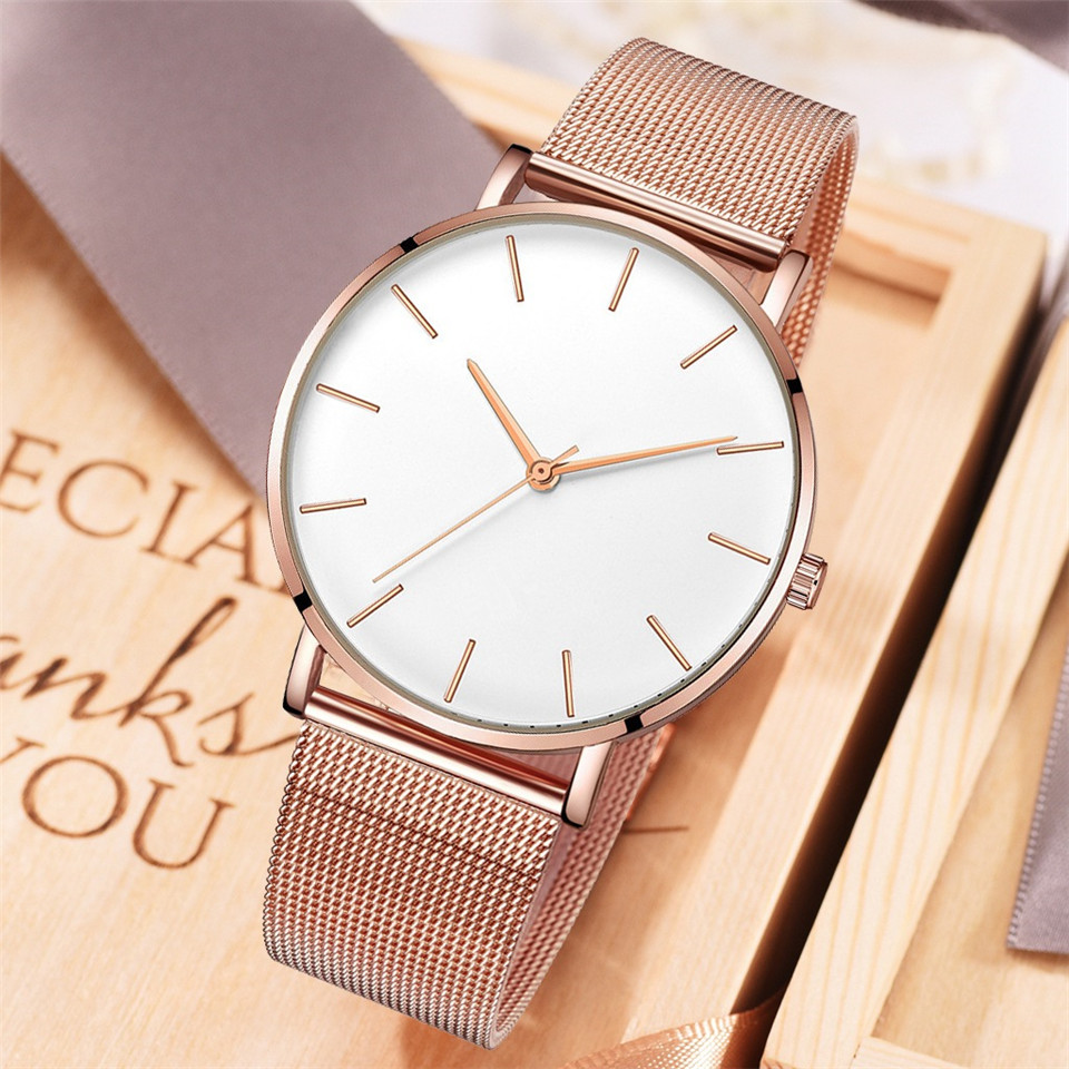 Luxury Ultra-thin Simple Sports Ladies Watch Rose Gold Watch Stainless Steel Strap Women's Watches Clock Relogio Feminino