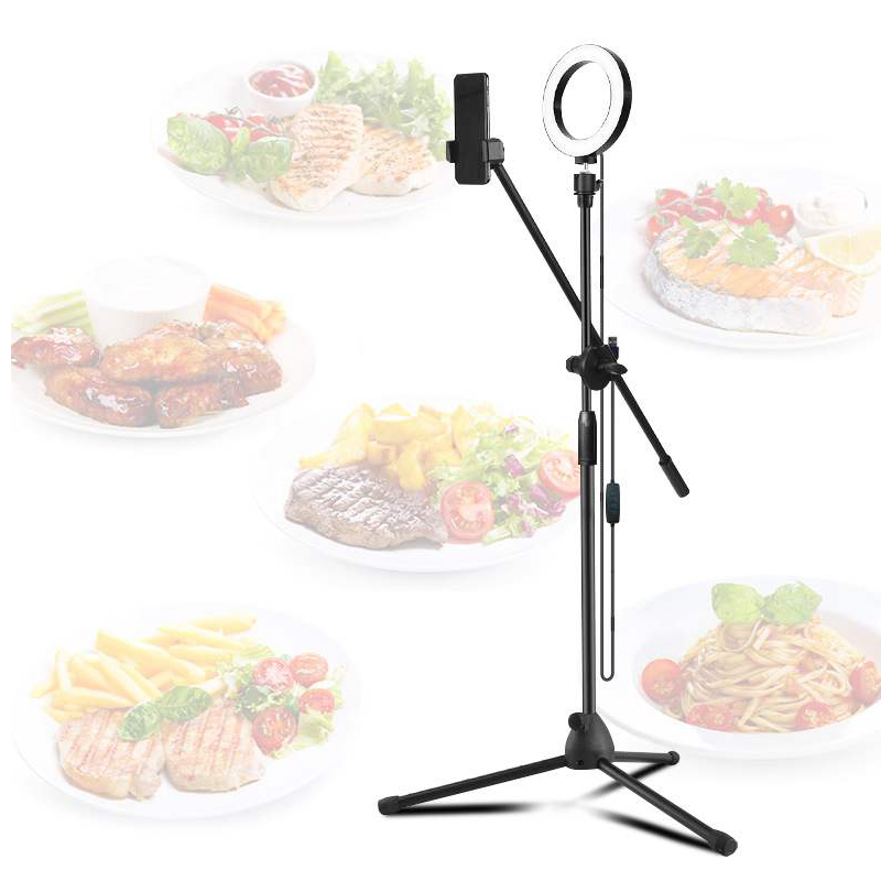 Adjustable Height Color Temperature Photography Food Shooting Bracket Arm Hand Bluetooth Ring Fill Light For Photo / Video Shoot