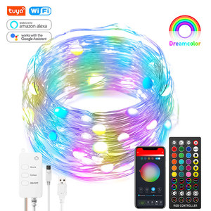 Tuya Smart WiFi Dreamcolor LED Fairy Light USB Strip 10m 100LED RGB RGBIC Twinkle Smart String Light Work Alexa Music Sync APP