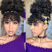 Leeons Ponytail High Hair Puff Clip In Hairpiece Afro Kinky Curly Synthetic Drawstring Ponytail With Bangs Hair Extensions Cheap