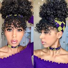 Leeons sznurkiem perwersyjne kręcone wysoki Puff kucyk syntetyczne doczepy do włosów włosy afroamerykańskie kucyk z grzywką 11 kolorów tanie tanio CN (pochodzenie) Wysokiej Temperatury Włókna 90 g sztuka 1 sztuka tylko Clip-in Pure color 11 colors ponytail curly ponytail hair piece