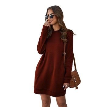 New Women Winter Warm Sweatshirt Dress Round Neck Thicken Long Sleeve Party Mini Dress Party Solid slim Dress женское платье image