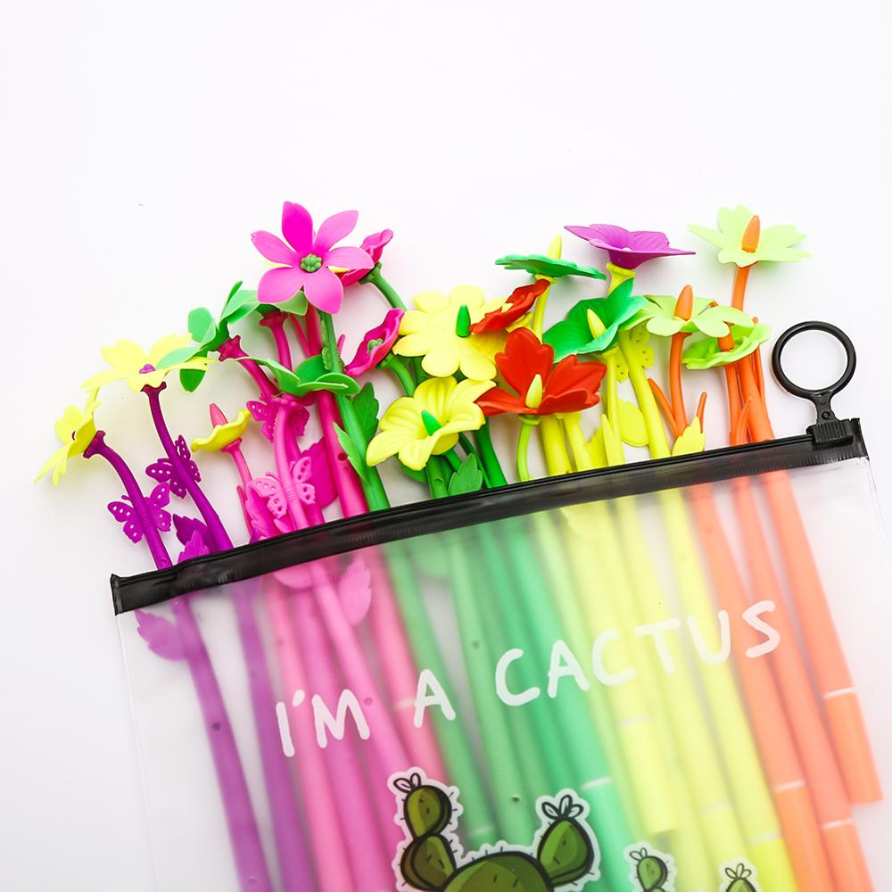 20Pcs/pack Creative Funny Flower Fun Gel Pens Blue Ink Stationery School Office Material Thing Pencil Case Bag Stationary Kawai(China)