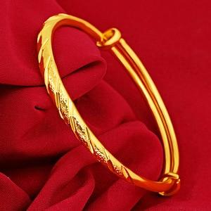 14K Gold Bangles Jewelry for Women Not Fade Gold Pulseira Feminina Bizuteria Wedding Gemstone 14 K Gold Trendy Bangles Females