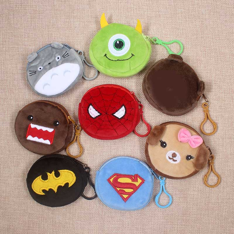 Cartoon Superman Spiderman Totoro Children Zipper Coin Purses Girls Mini Change Plush  Purse Mini Wallet Small Pouch Handbag Bag