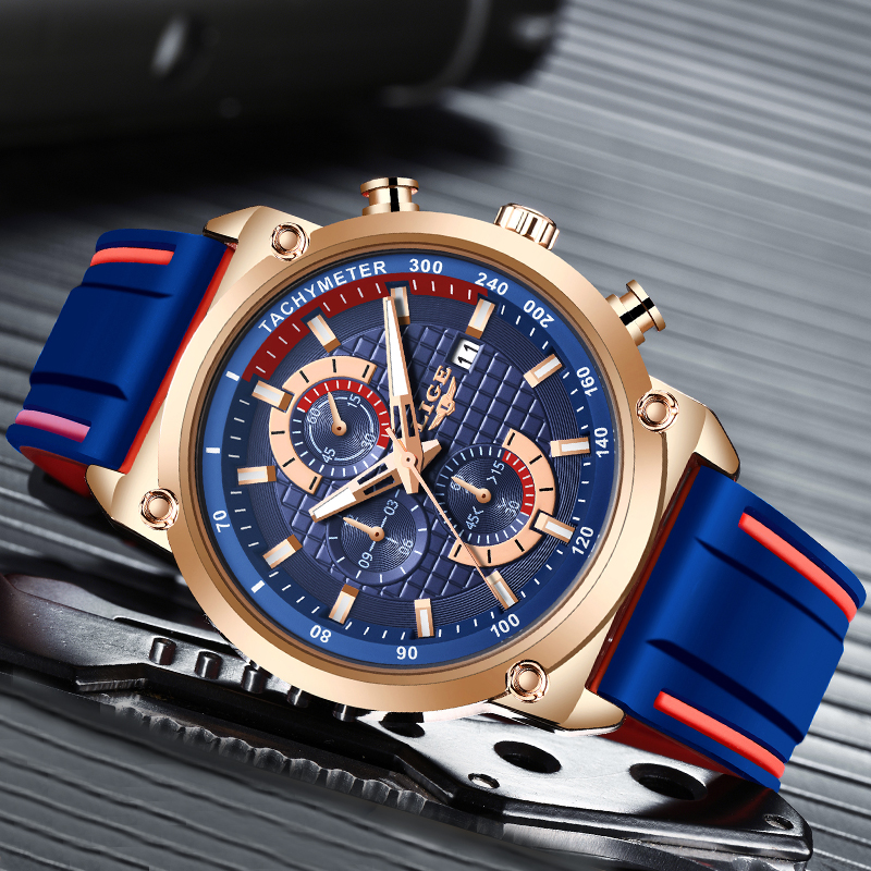 2019 LIGE New Mens Watches Top Brand Luxury Dial Clock Male Fashion Silicone Waterproof Quartz Gold Watch Men Sport Chronograph