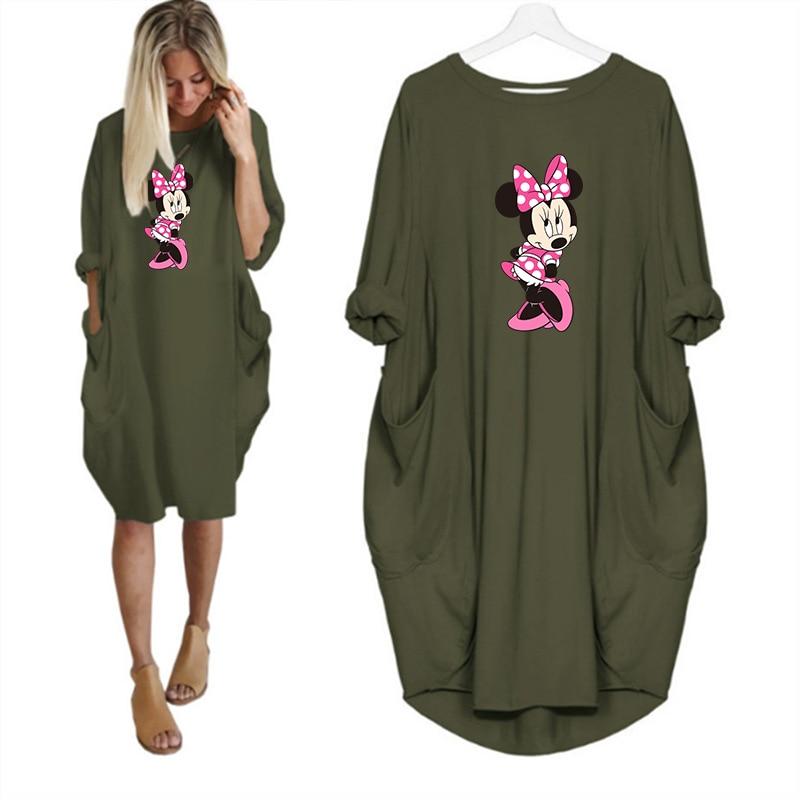 2020 Dress Women Cute Printing Pocket Loose Dresses Vintage Fall Maxi Clothes Party Casual Dresses Woman Plus Size Leopard Dress 13